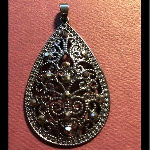 Jewelry - Black Metallic Filigree Teardrop Shape Pendant